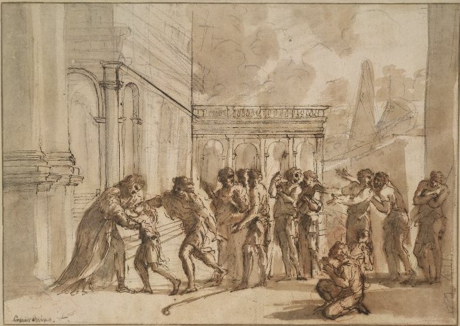 "Early study for ""Joseph Greeting his Brethren"" by Pier Francesco Mola (c. 1656) © The Trustees of the British Museum"