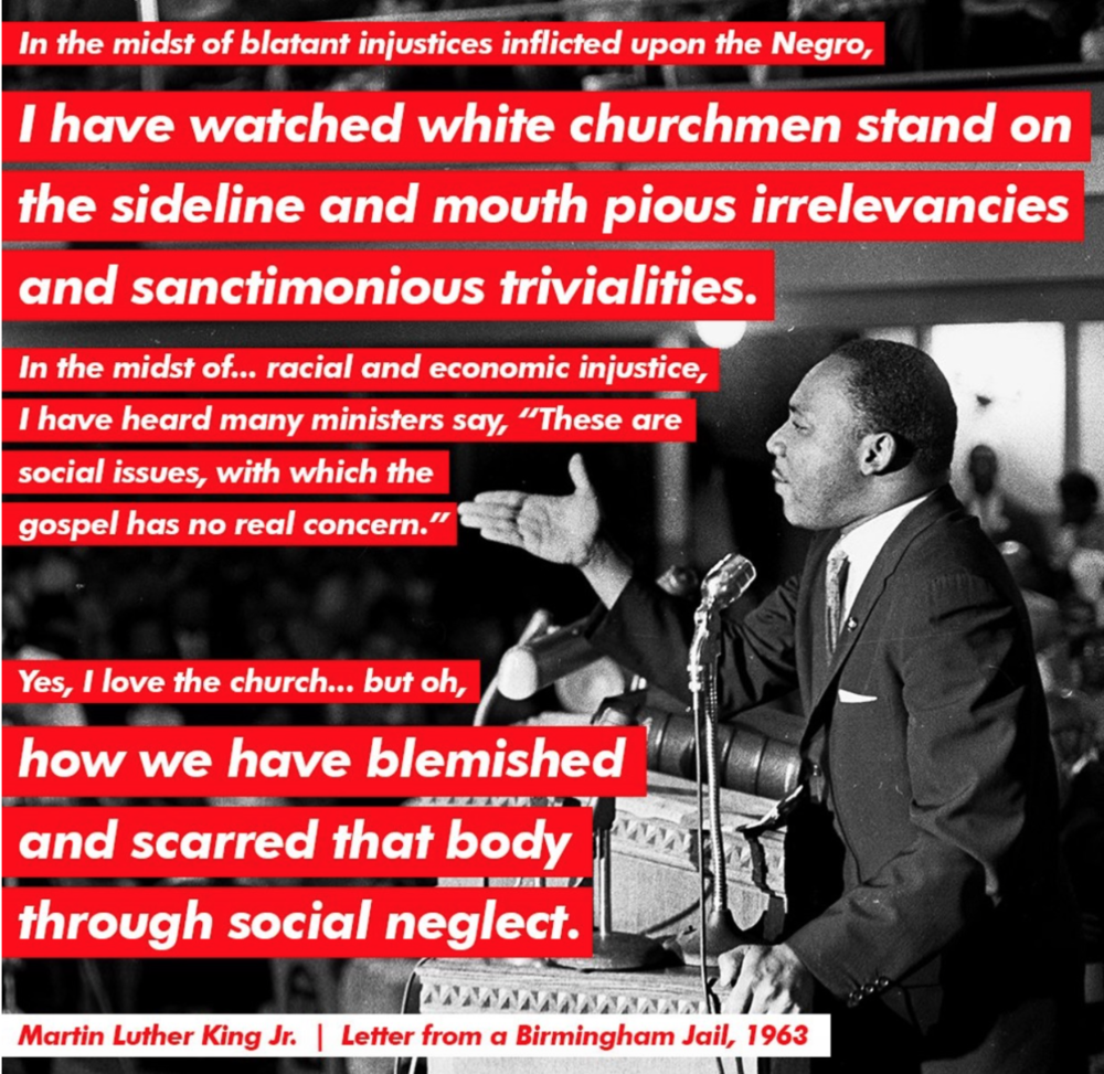 "Quotes from Martin Luther King, Jr.'s ""Letter from a Birmingham Jail."" Graphic art by Daniel James Rarela."