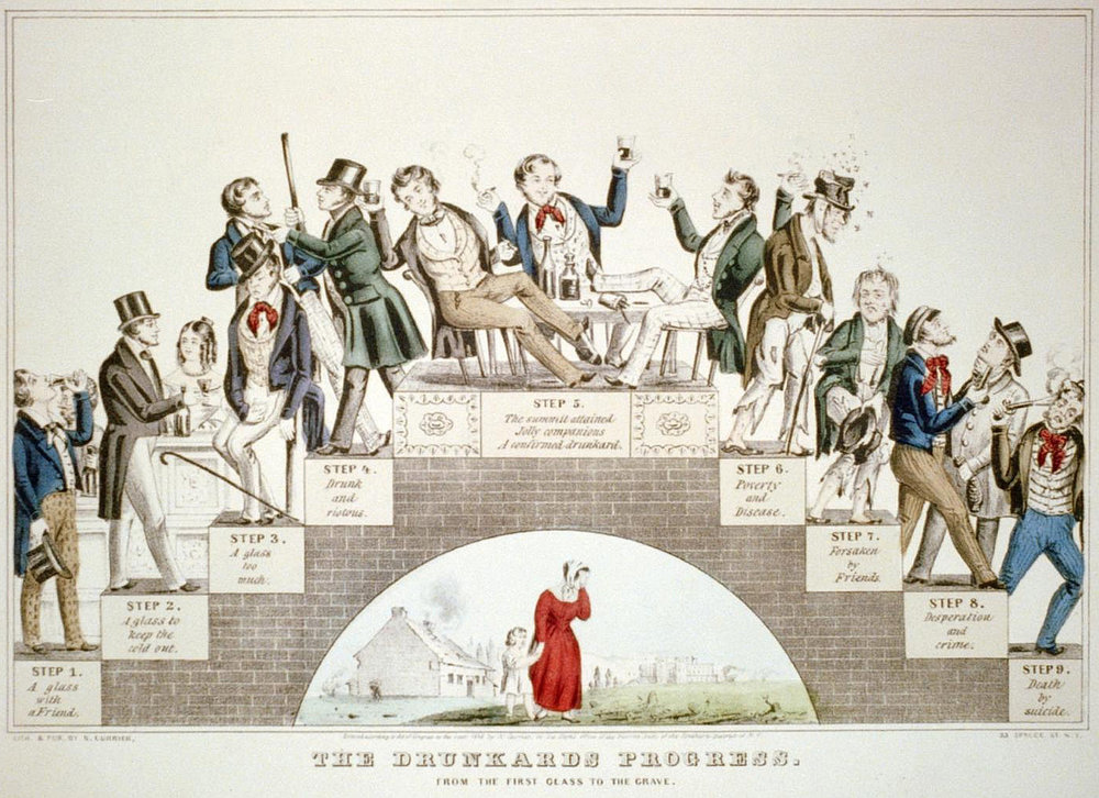 prohibitionists were not messing around - notice the progress of a drunkard is to suicide...