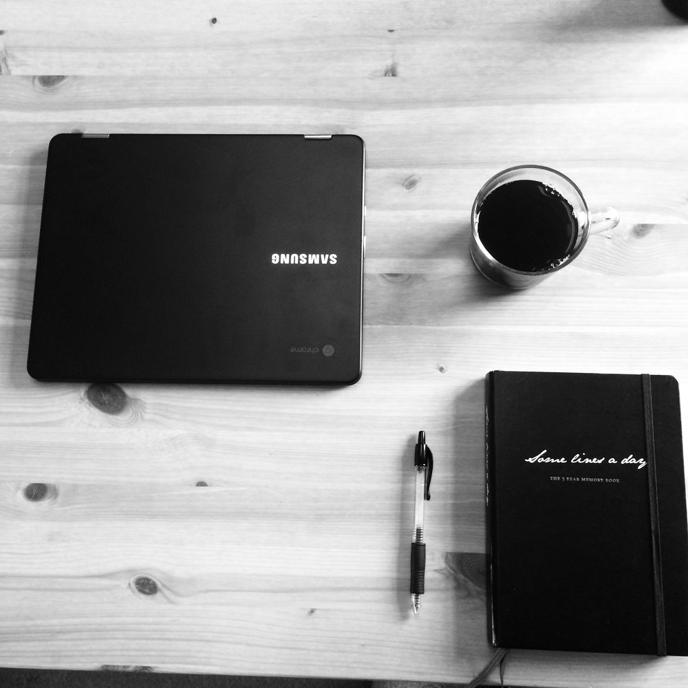 "Stereotypical ""I'm working"" instagram post featuring my journal, coffee, pen, and laptop. Just so cliche I can't handle myself"