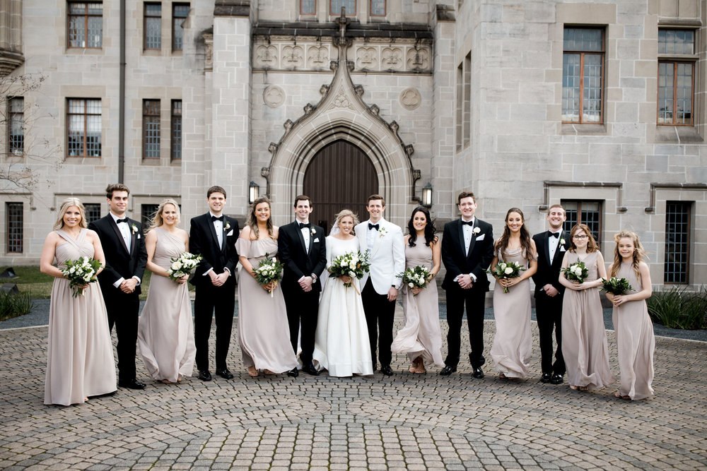 Wedding party on outdoor labyrinth