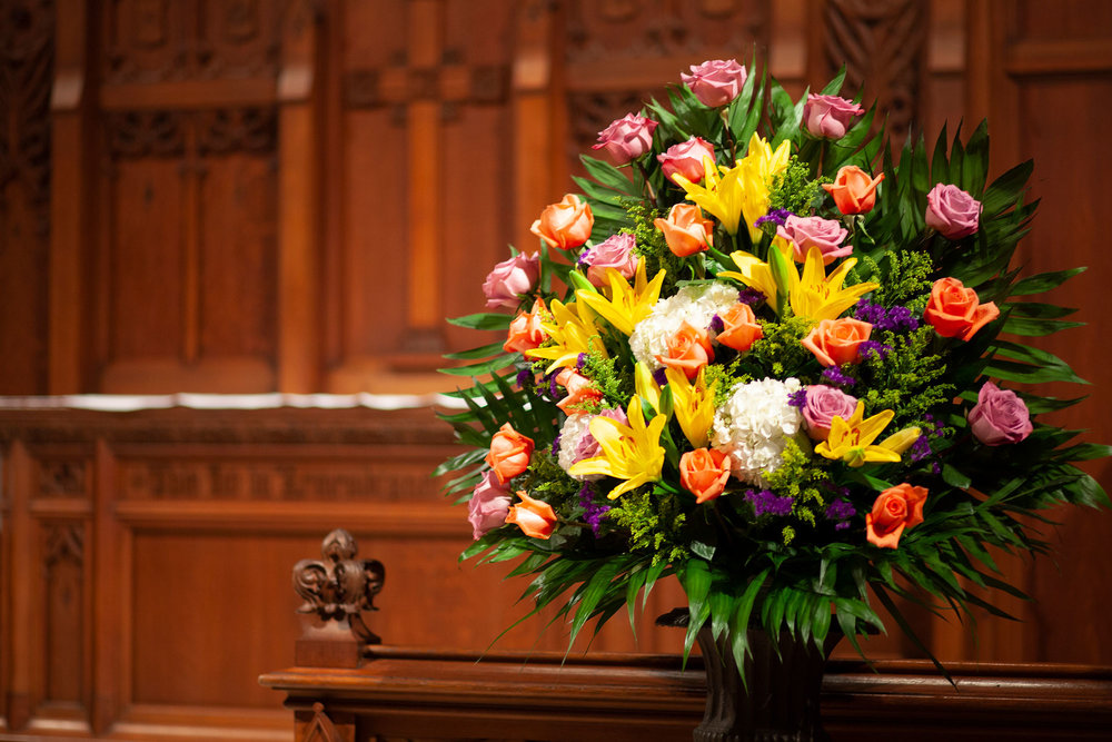 Flowers at the altar