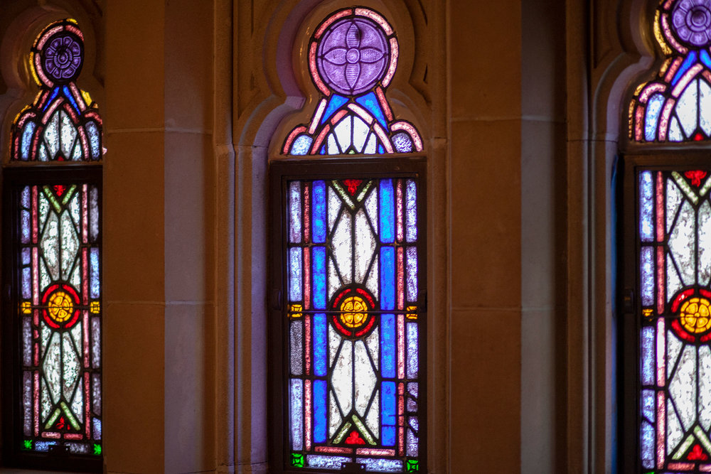 A trio of stained glass windows