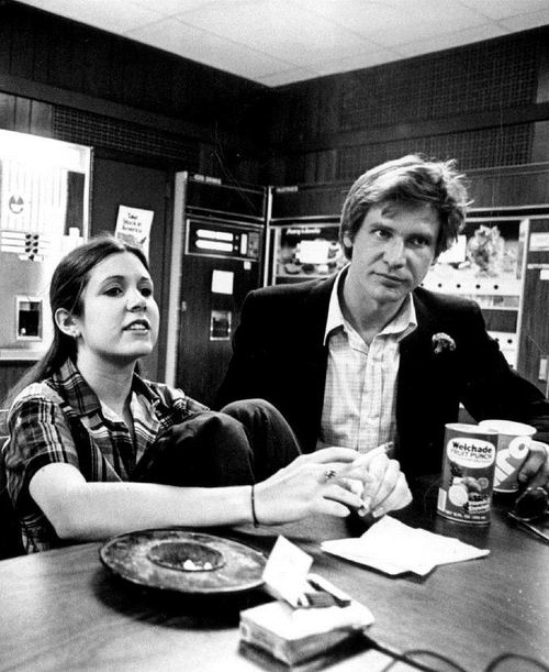 awesomepeoplehangingouttogether :      Carrie Fisher and  Harrison Ford