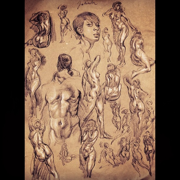 dannygalieote: A page if quick figure studies - 30sec to 5min