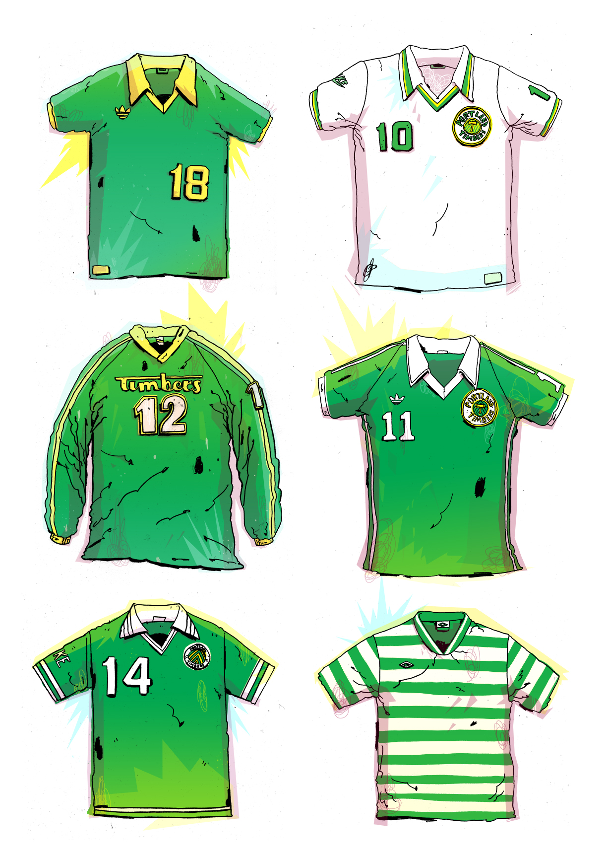 Timbers' Kits from Back in the day.