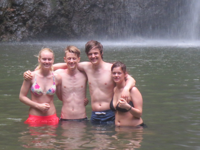 They just had to go into the waterfall lake - even though it was very cold