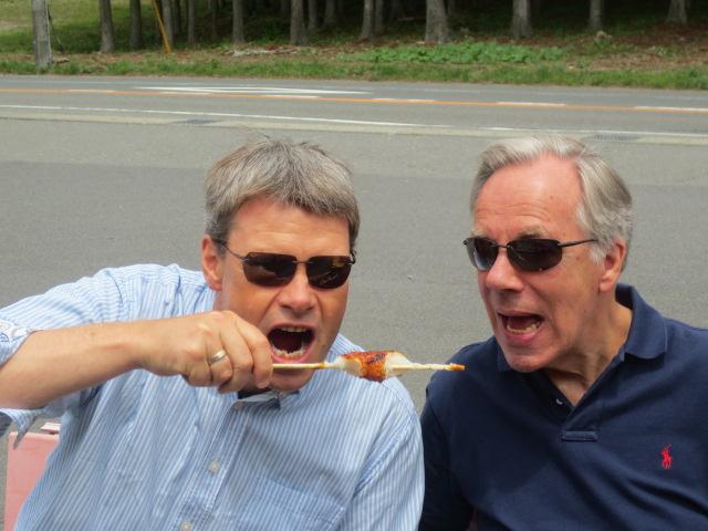Benedikt and Peter enjoying sticky rice
