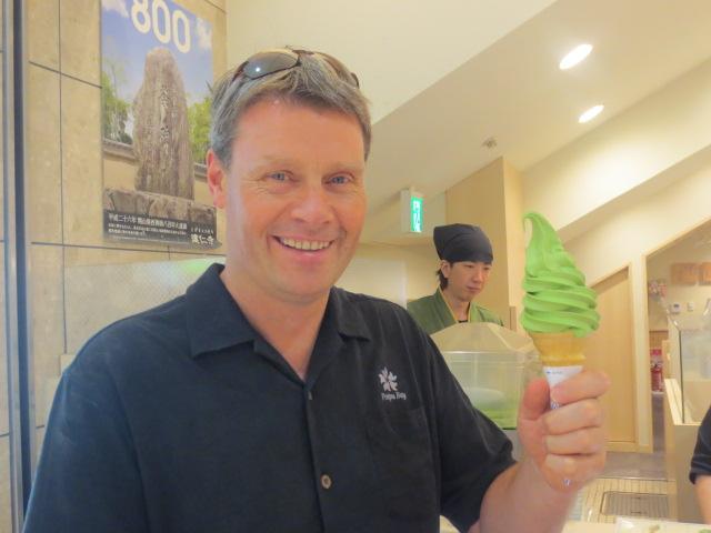 Benedikt with a green tea icecream