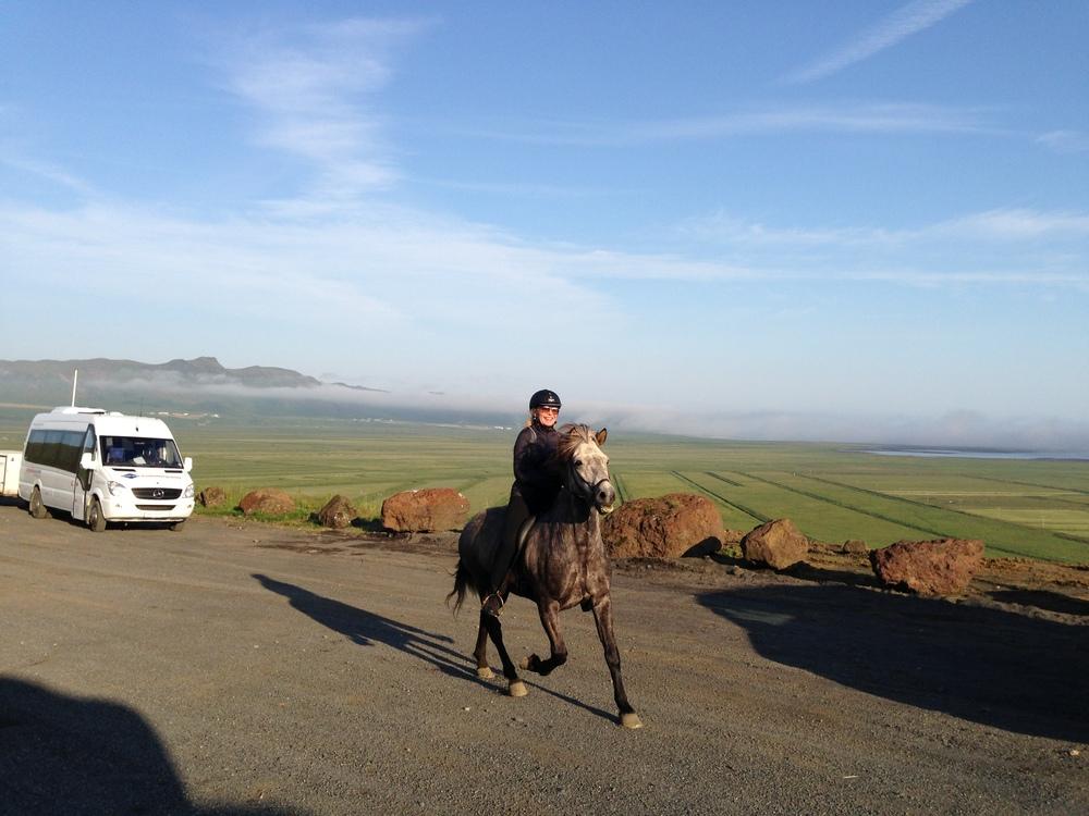 Sandie looking great on her horse near Hótel Dyrhólar