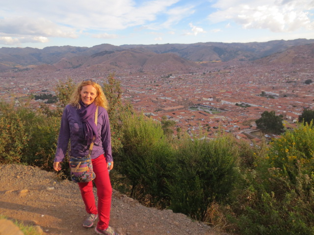 Gudrun with most of Cusco in the background