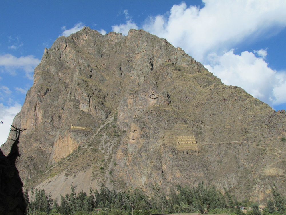 "Above the village Ollantaytambo was this mountain with the ""refrigerator"" and huge carved face"