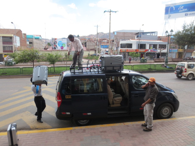 Leaving Cusco - our taxi driver stacked the bags on the roof of the car