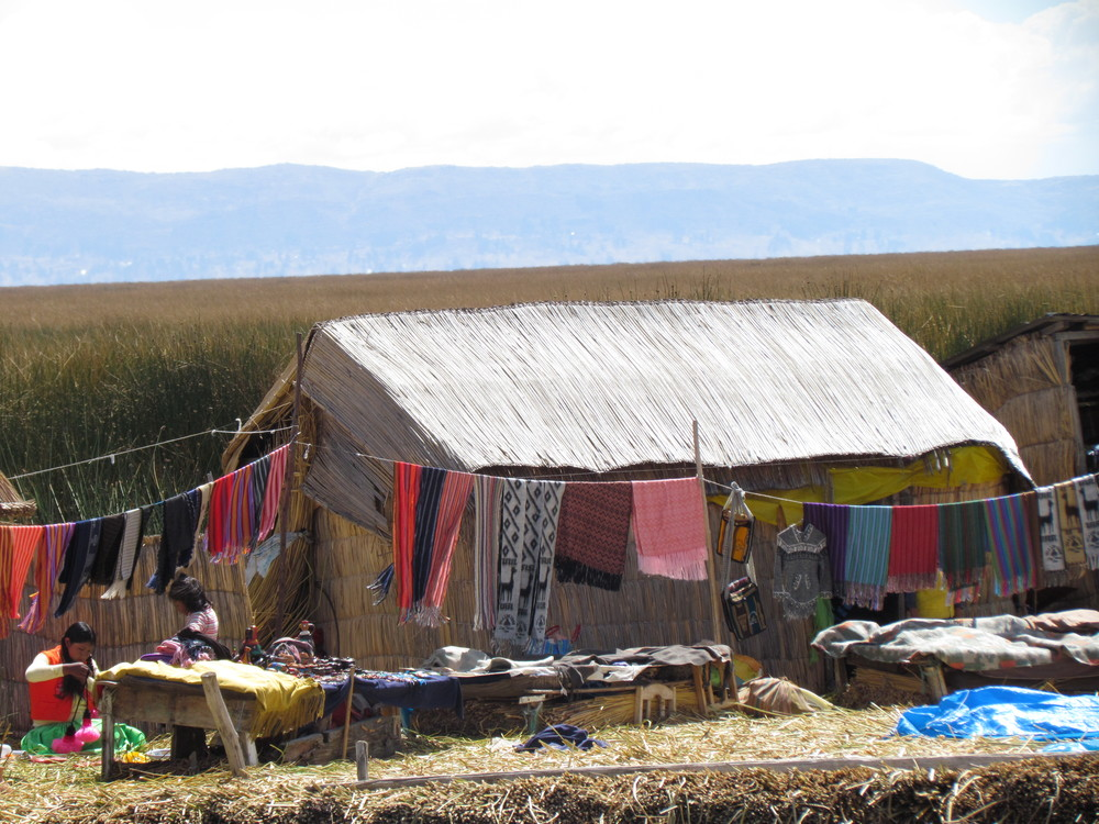 A normal day on one of the Uros islands