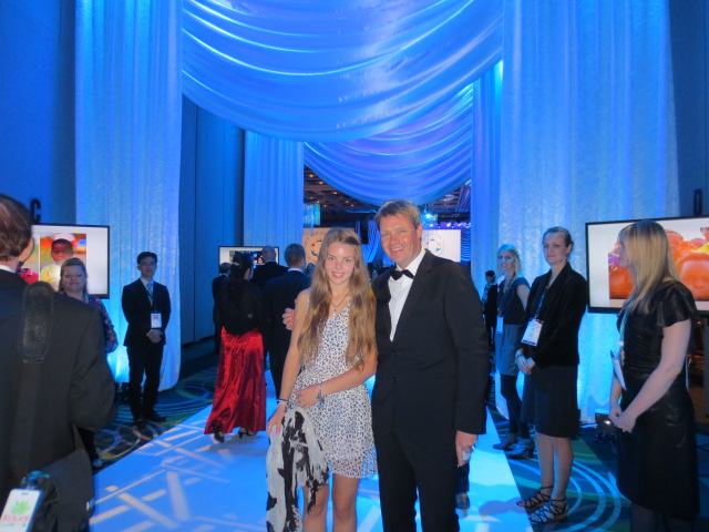 Dora with her dad attending her first ever Force For Good gala - very impressive entrance
