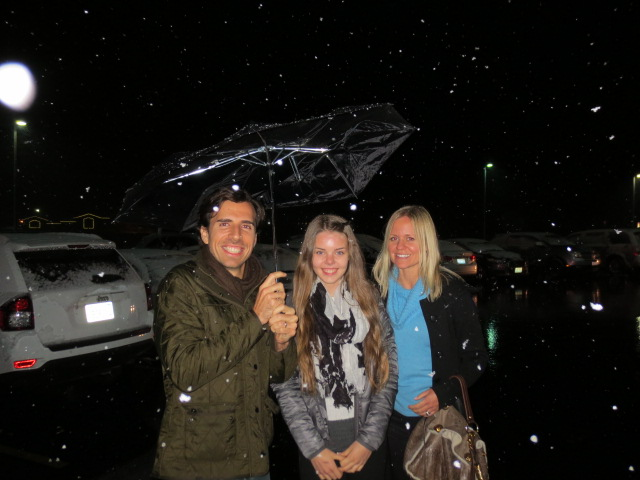 To our surprise it started snowing - Dora with Max and Hanna