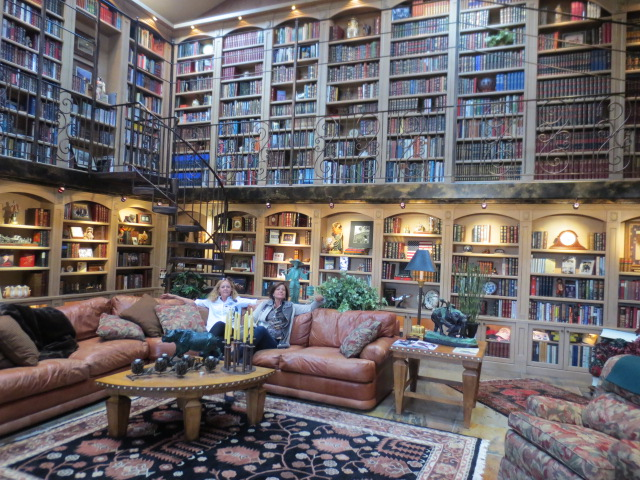 What an impressive library - and so cosy