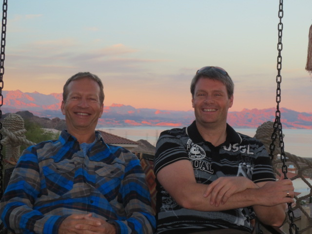 Two rather happy dudes enjoying the sunset.