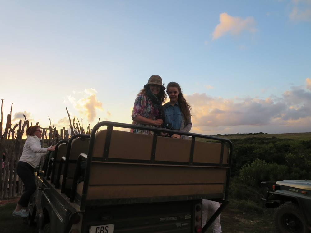 Gudrun and Dora on the Safari truck