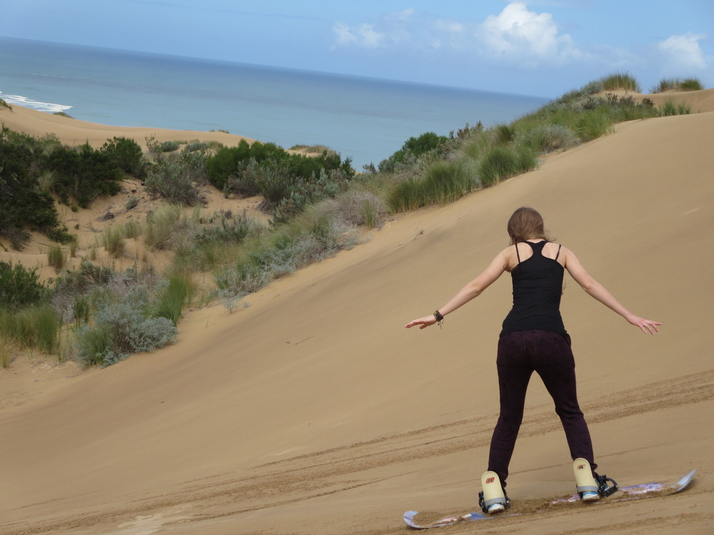 We went sand boarding at Mossel Bay