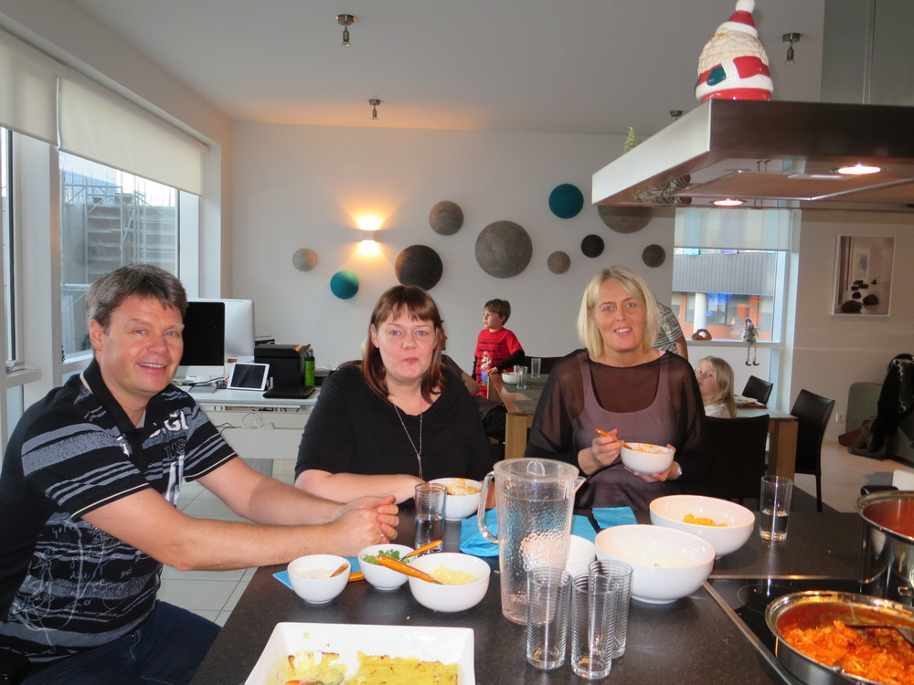 "Benedikt with his sisters, Margrét and Helga at a ""soup lunch"""