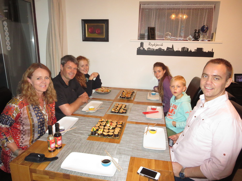 Raw sushi dinner in the UK with Gudrun´s brother and family