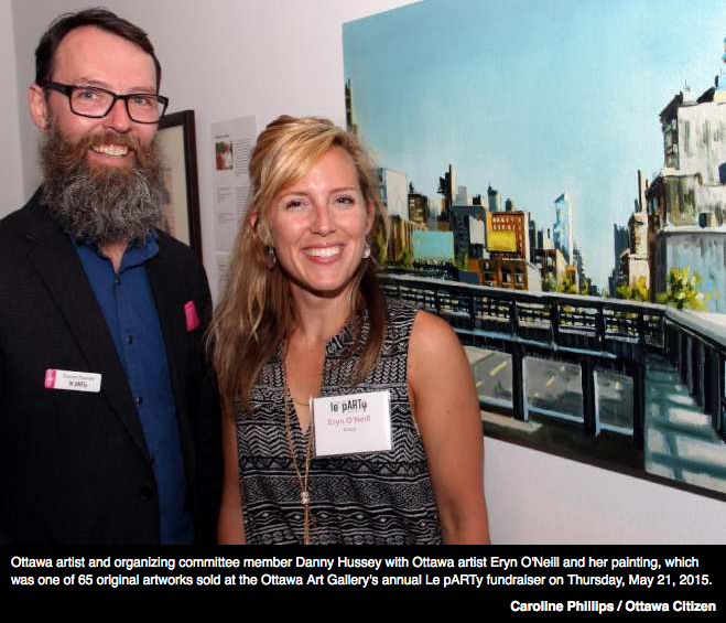 Danny Hussey, Board Member of the Ottawa Art Gallery, at the annual fundraiser auction with artist Erin O'Neill.