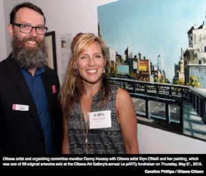 Ottawa ART gallery auction fundraiser 2015     Danny Hussey, board member of the Ottawa Art Gallery, at the annual fundraiser auction with artist Eryn O'Neill.