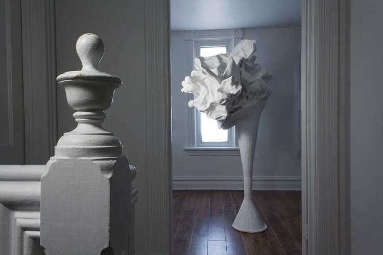 Meredith' snider untitled the series sculpture photography plaster fake flowers cement in x in.