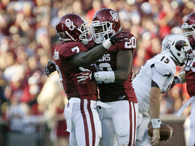 Linebackers actually saw the field in OU's season-opening win over Louisiana-Monroe. (Photo courtesy:  KJRH.com )