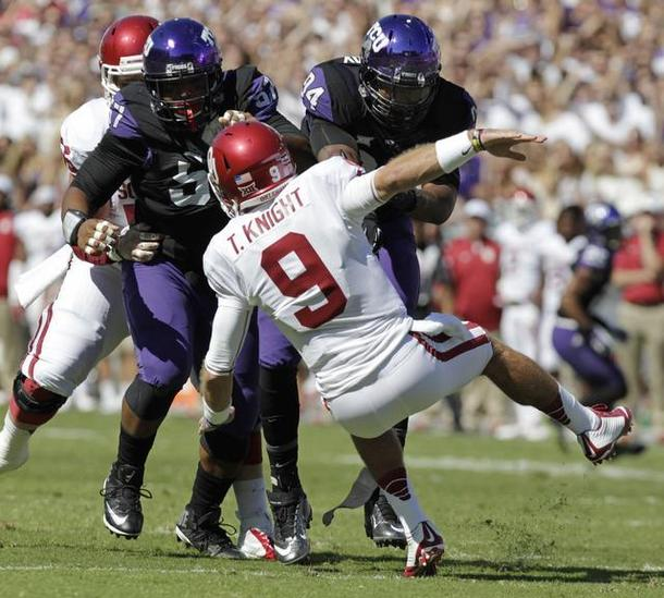 Things could have gone better for Trevor Knight against TCU. (Image courtesy: star-telegram.com)