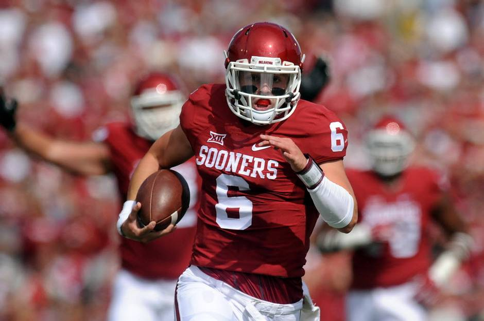 Baker Mayfield did his damage versus Tulsa with his feet and through the air. (Image: dallasnews.com)