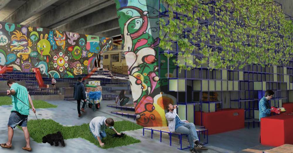 Vista para os Escaninhos e a Cozinha Pública. Ao fundo, arquibancadas associadas a playground configuram espaço de lazer voltado para palco.