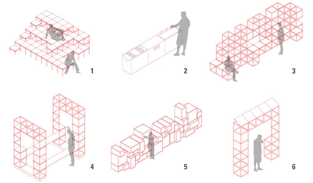 Mobiliário urbano proposto 1  Arquibancada  2  Cozinha pública  3  Estrutura para exposição  4  Estrutura para feira  5  Escaninhos  6  Tótem com paineis fotovoltáicos