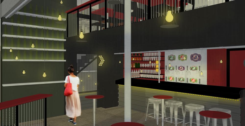 Vista do espaço de entrada e do balcão do bar