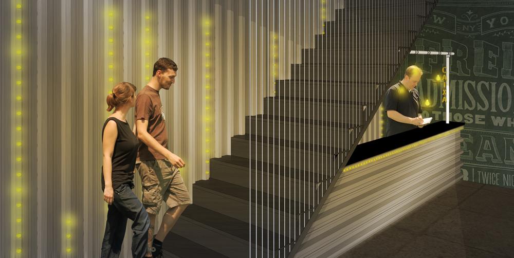 Vista do painel iluminado, da escada para mezanino e do caixa