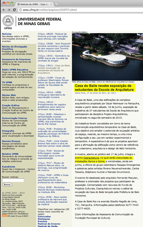 Site da Universidade Federal de Minas Gerais