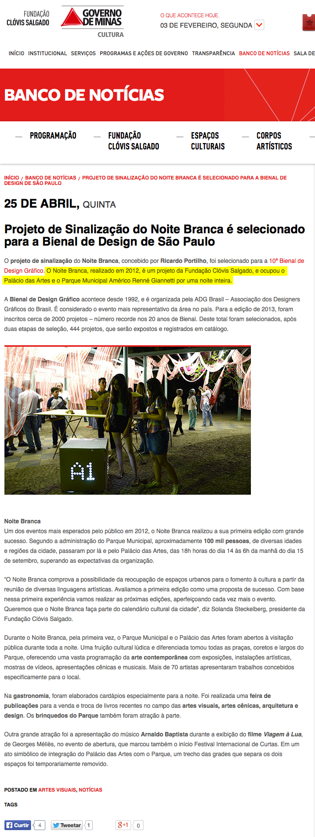 Site Fundação Clóvis Salgado, Belo Horizonte, 25 de abril de 2013