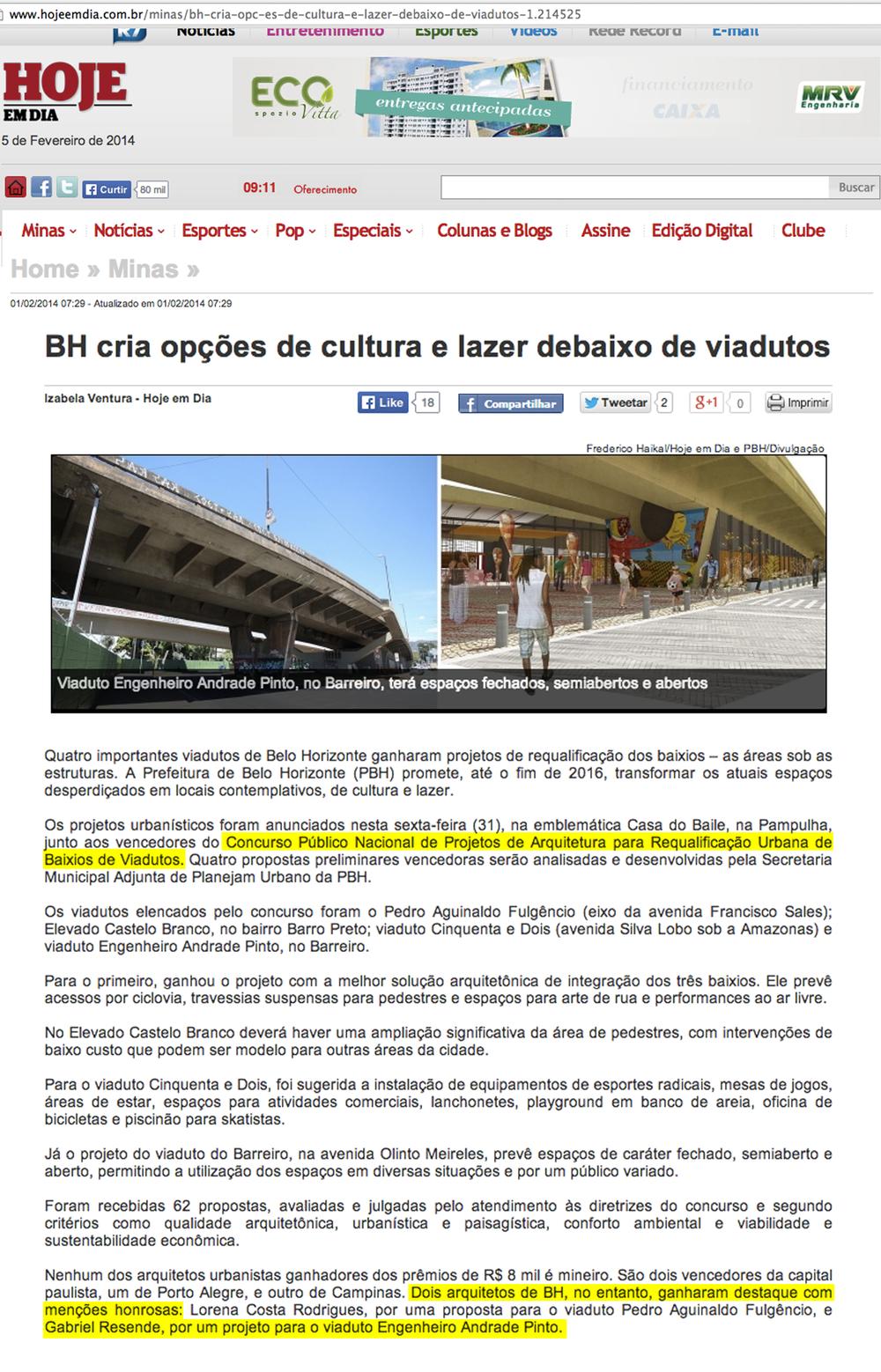 Jornal Hoje Em Dia, Belo Horizonte, 5 de fevereiro de 2014