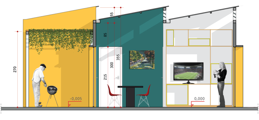 Seção transversal da casa, mostrando o funcionamento da cobertura em sheds que garante aproveitamento de luz e ventilação naturais