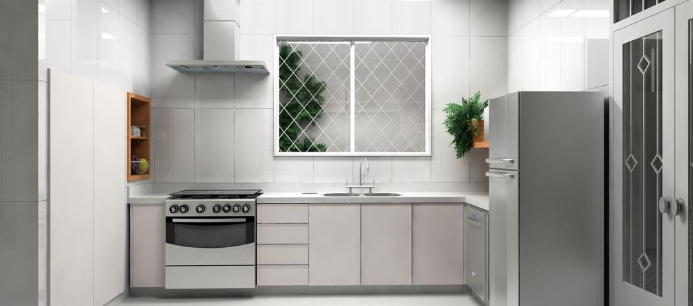 Cozinha ampliadacom revestimento em porcelanato branco, armários claros, prateleiras e nichos em madeira e eletrodomésticos em inox.