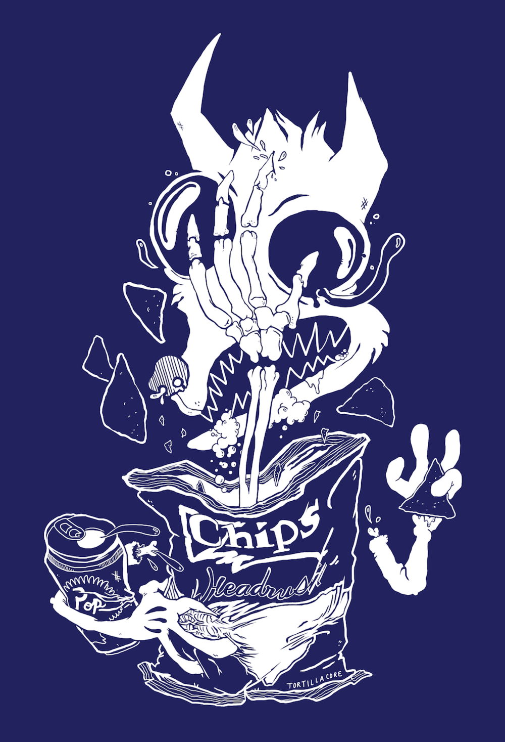 Back of a tee design for hardcore punk Columbus locals, Headrush.