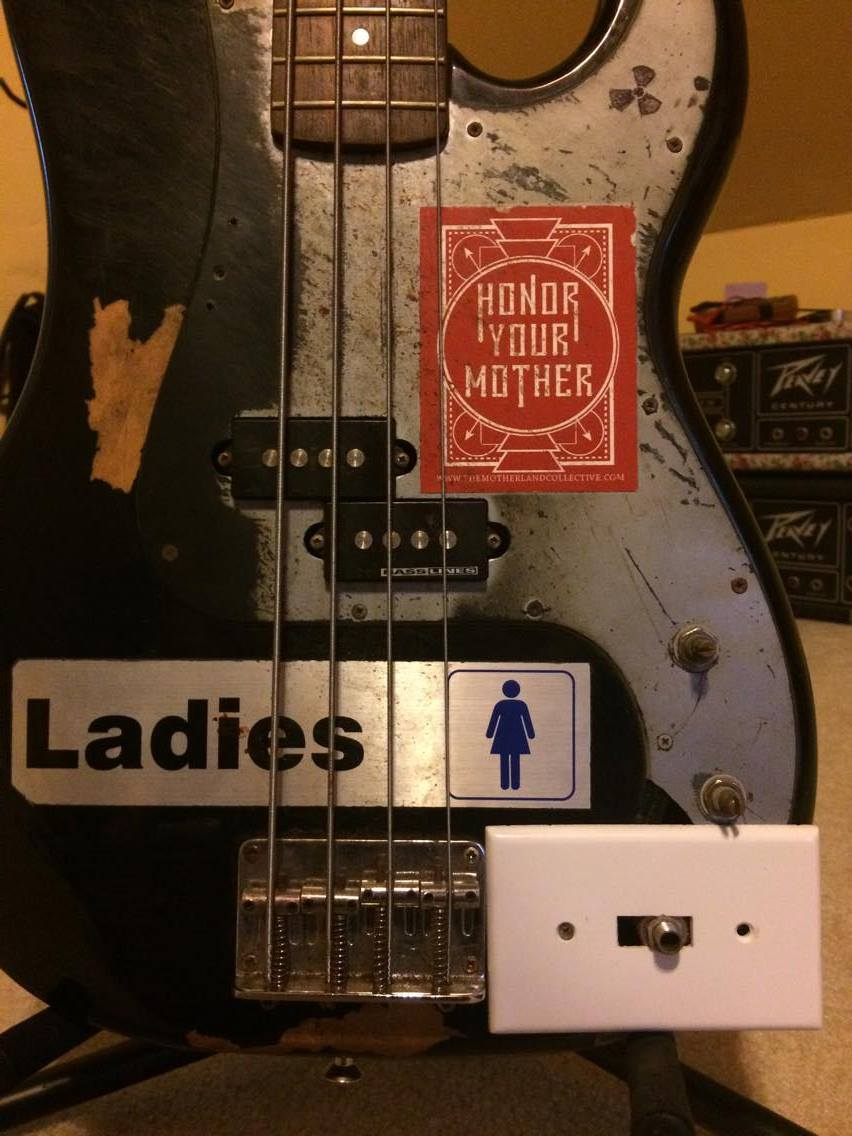 My friend Alex's bass for reference - used his Columbus band Nuclear Moms as reference, too, in the first styleframe.