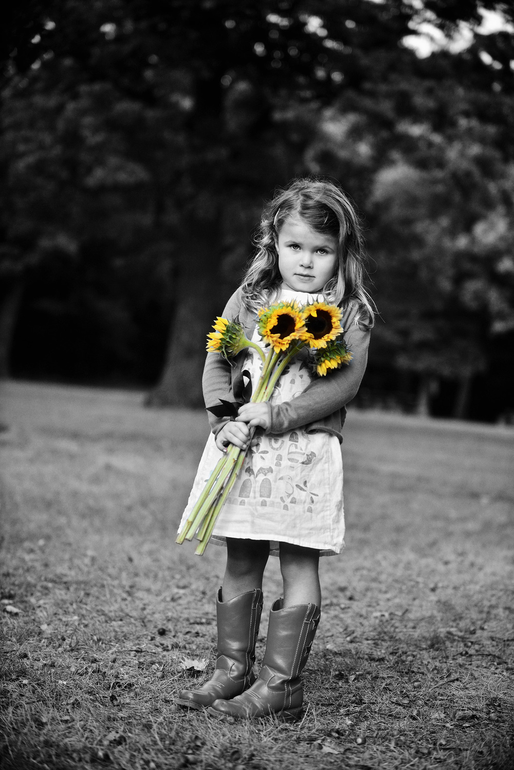 DSC_5550 holding sunflowers B&W colored web gallery.jpg