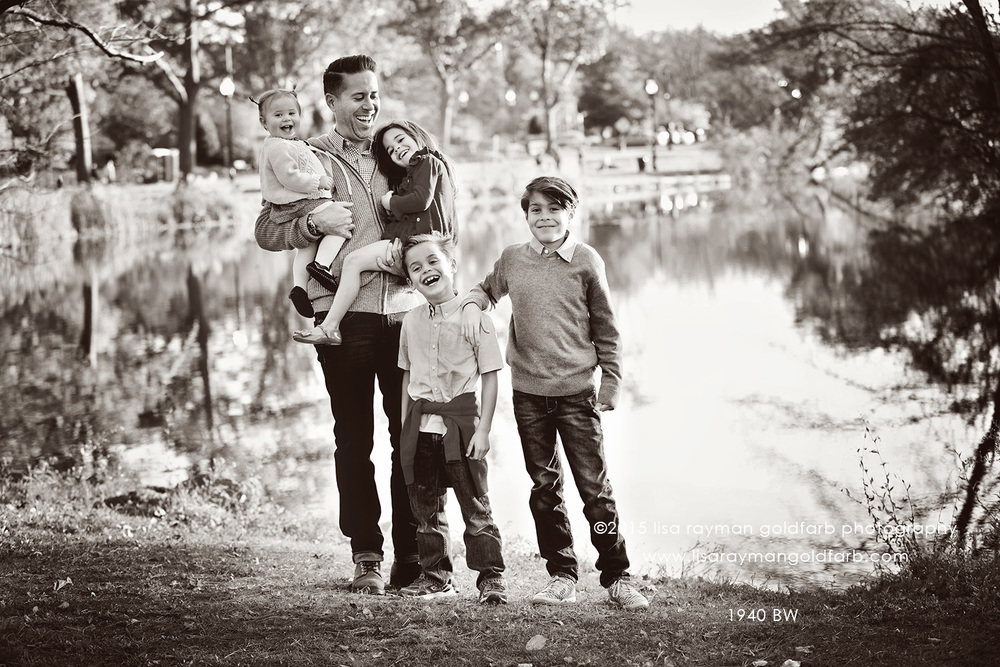 DSC_1940 manahi with the kids by lake sepia BW wm.jpg