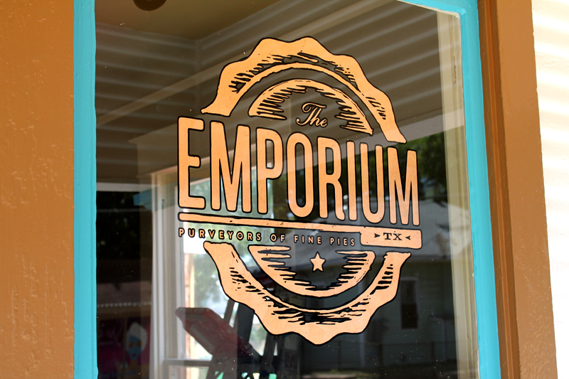 Emporium Pies Dallas: Oak Cliff in Dallas will be getting a new groovy addition to their community with Emporium Pies. We just finished a couple copper leaf windows for them. The logo was designed by the hyper-talented Foundry Collective in Dallas. I personally am a big fan of pumpkin pie, so will be making a stop here to visit these folks to give it a try…