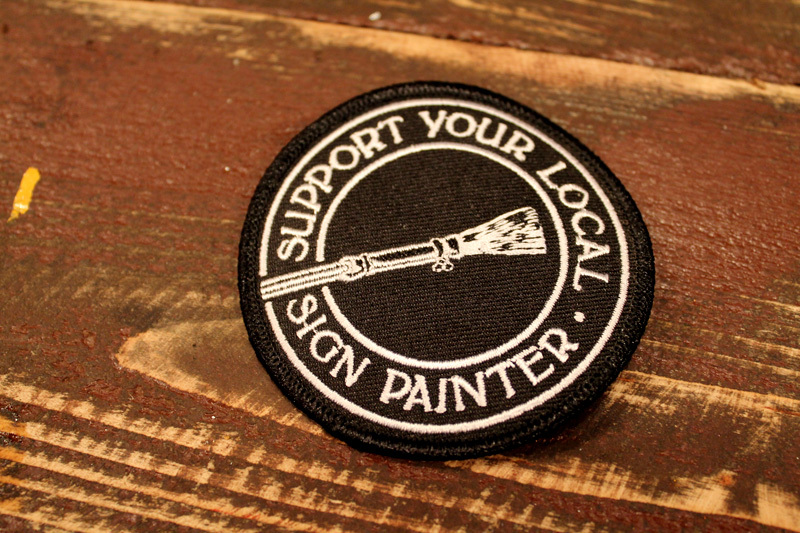 "OFFICIAL SWAG ALERT: You one of the folks who has been asking about the ""Support Your Local Sign Painter"" patches? We just got a very limited batch in, so first come first serve, Amigos… we don't know when we will be able to get our hands on any more of these. The store is currently set to only accept U.S.A. orders, if your out of the country email a.s.a.p. and we will figure out shipping etc. These were commissioned by the Sign Painter Movie and Book folks, original Starr Studios design… http://shop.starrstudios.net/product/limited-support-your-local-sign-painter-patch"