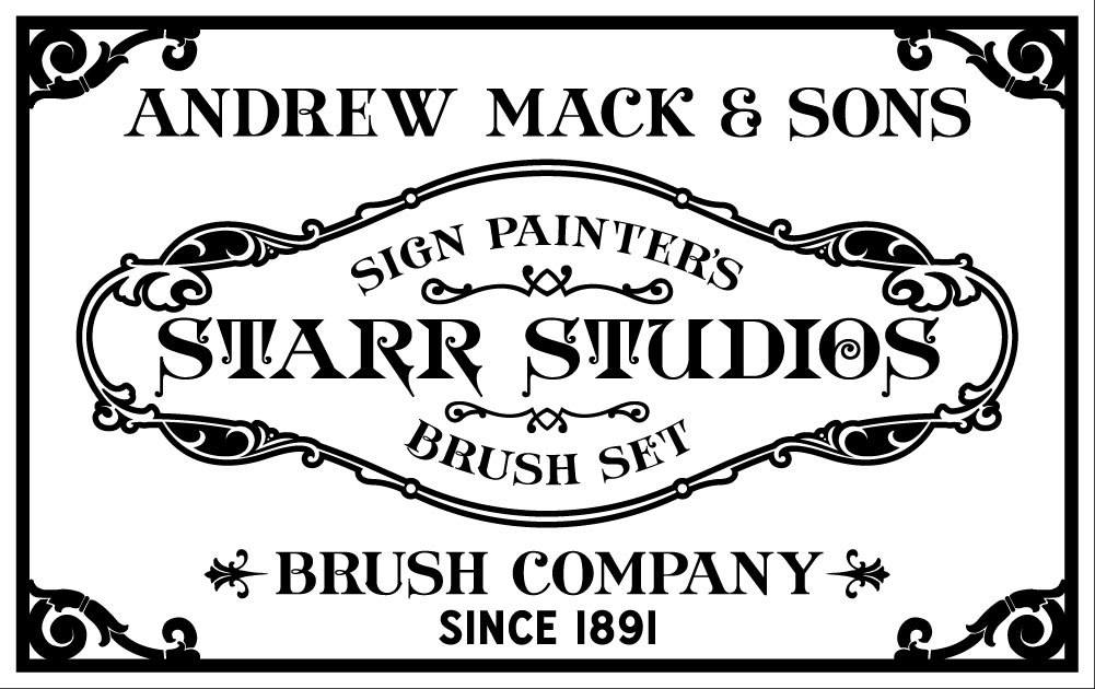 COOLEST. NEWS. EVER. We have been using brushes from the Mack Brush Company for over 20 years (they've been making sign painting brushes since 1891 y'all) Mack contacted us a while back about developing a brush series with Starr Studios, and we are happy to announce that we will soon have the Starr Studios Series of lettering brushes available, designed to our specs. These are great brushes that will be a staple for veteran sign painters as well as a killer set for those of you just entering into the trade. We will be posting here as soon as they become available! https://www.facebook.com/pages/Mack-Brushes/260872657770?fref=ts