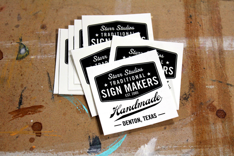 "3 bucks gets you (3) of our groovy stickers. They measure 2 1/2"" x 2 1/2"" and are silk screened to last a long time. Give 'em to friends, stick 'em on your brush kit, patch that inner tube you've been putting off until spring rolled around…"