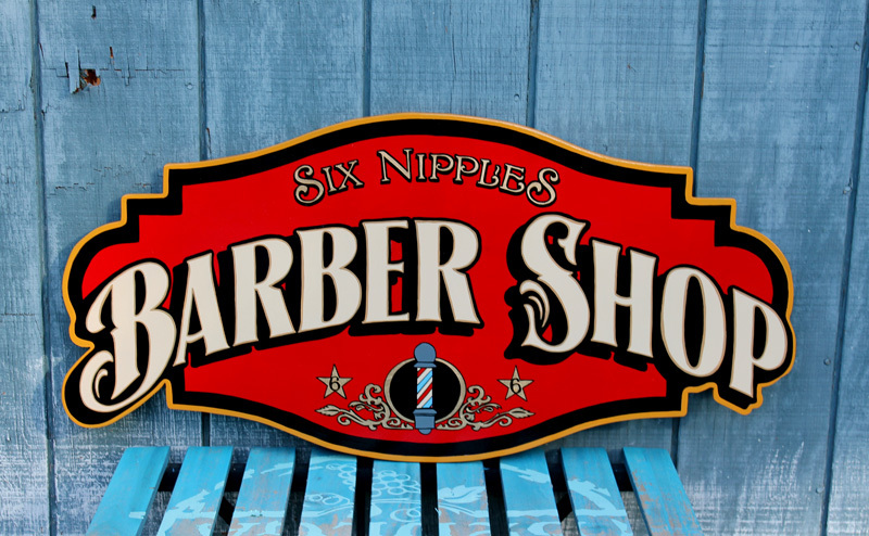 Just completed this sign for a Barber Shop. All hand painted and gold leafing on MDO Plywood.